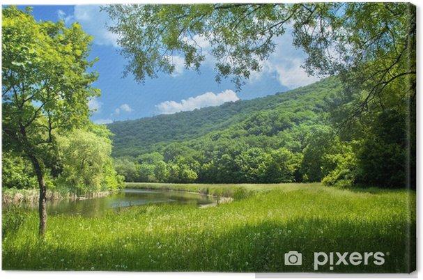 Canvas Zomer landschap met rivier en blauwe hemel - Thema's