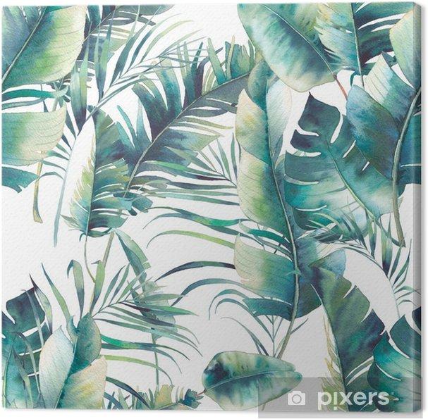 Canvas Zomer palmboom en bananenbladeren naadloze patroon. waterverftextuur met groene takken op witte achtergrond. hand getekend tropisch behang ontwerp - Bloemen en Planten
