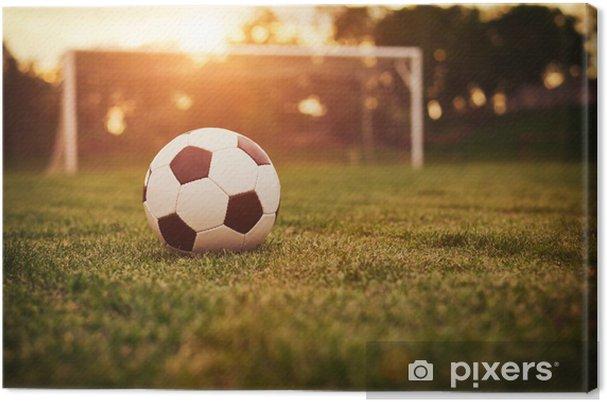 Canvas Zonsondergang boven het voetbalveld - Voetbal