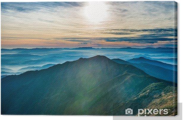 Canvas Zonsondergang in de bergen - Landschappen