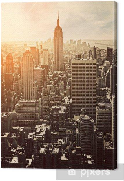 Canvas Zonsondergang in Manhattan -