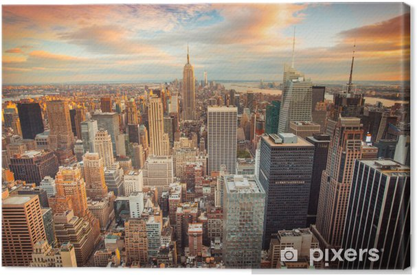 Canvas Zonsondergang in New York met uitzicht over Manhattan -