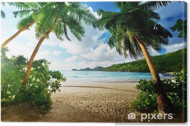 Canvas Zonsondergang op de Seychellen - Palmbomen