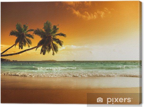 Canvas Zonsondergang op het strand van de Caribische zee -