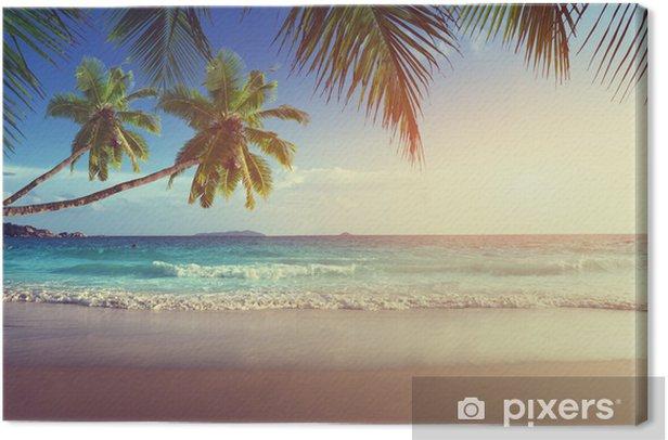 Canvas Zonsondergang op het strand van de Seychellen - Thema's