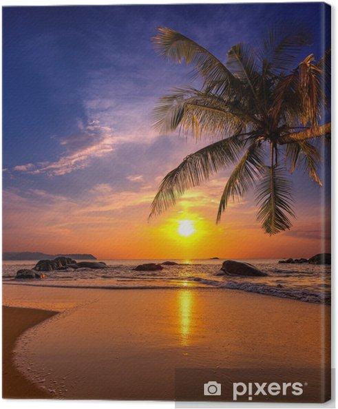 Canvas Zonsondergang over de zee. Provincie Khao Lak in Thailand -