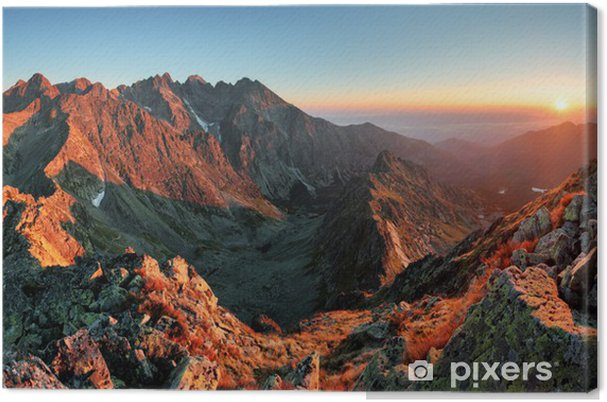 Canvas Zonsondergang van de berg panorama vanaf de top - Slowakije Tatra - Thema's