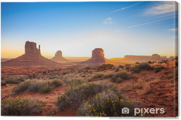 Canvas Zonsopgang in Monument Valley, AZ, USA - Woestijn