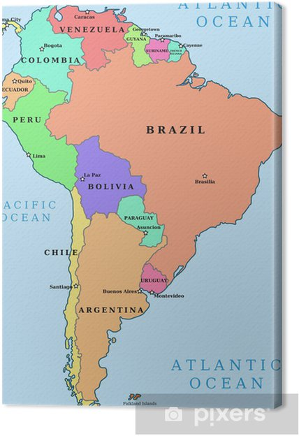 Canvas Zuid-Amerika - kleurrijke politieke vector kaart - Thema's