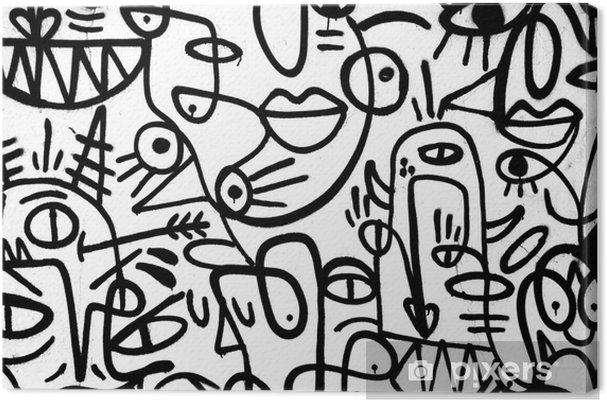 Canvas Zwart-wit patroon graffiti op de wall.spain, jerez, januari 2018.interessante achtergrond - Grafische Bronnen