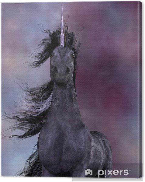 Canvas Zwarte Eenhoorn - Denkbeeldig dieren