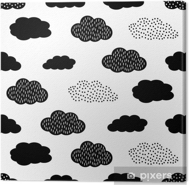 Canvas Zwarte en witte naadloze patroon met wolken. Schattige baby shower vector achtergrond. Child tekenstijl illustratie. - Grafische Bronnen