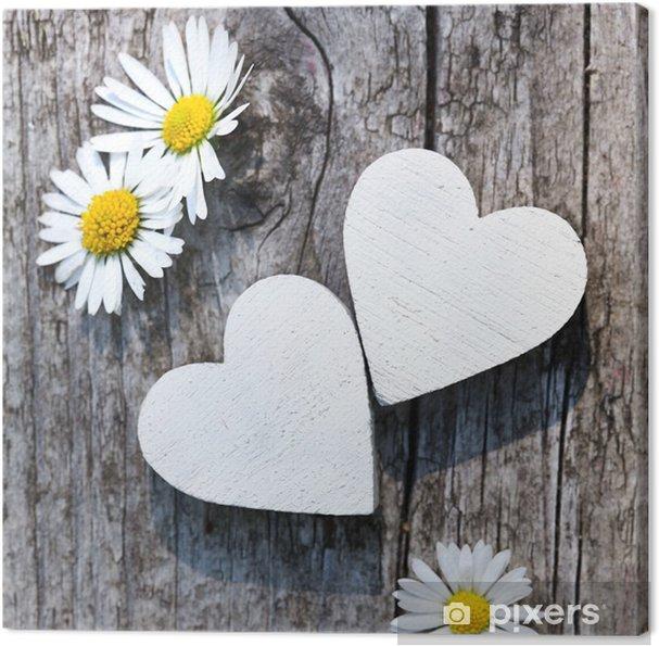 Canvas Zwei weiße Herzen - Amusement