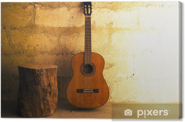 Canvastavla Akustisk gitarr på gamla muren - space - Teman