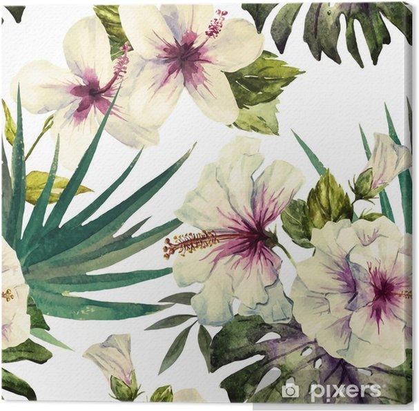 Canvastavla Akvarell hibiskus mönster