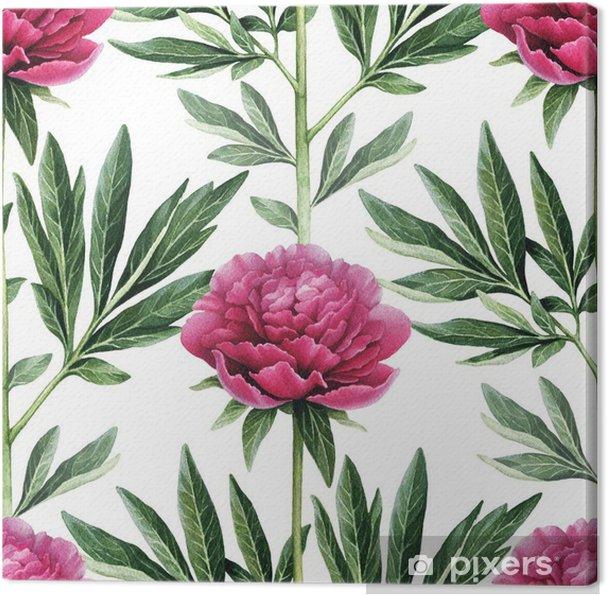 Canvastavla Akvarell pion blommor illustration. Seamless mönster - Blommor och växter