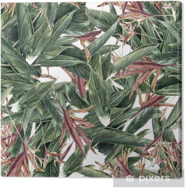 Canvastavla Akvarellmålning av löv och blommor, seamless - Hobby och fritid
