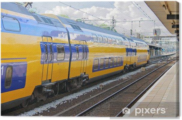 Canvastavla Ankomst av tåget vid järnvägsstationen - Järnvägsstationer och tunnelbana