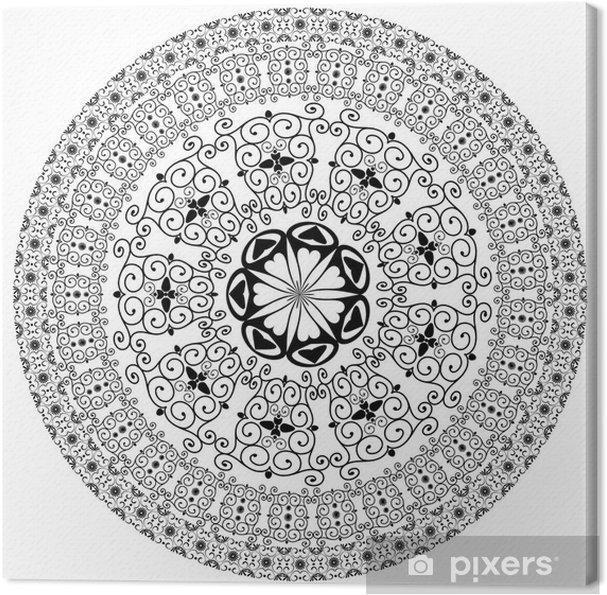 Canvastavla Arabesk mönster runda - Väggdekor