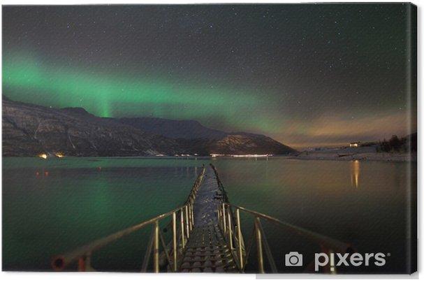 Canvastavla Aurora borealis över en norsk fjord - Teman