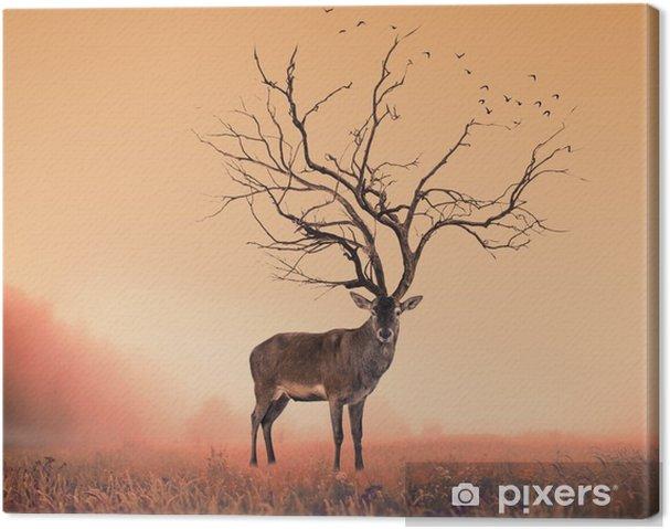 Canvastavla Begrepps Deer hjort, en torr träd som kronhjort stag - Djur