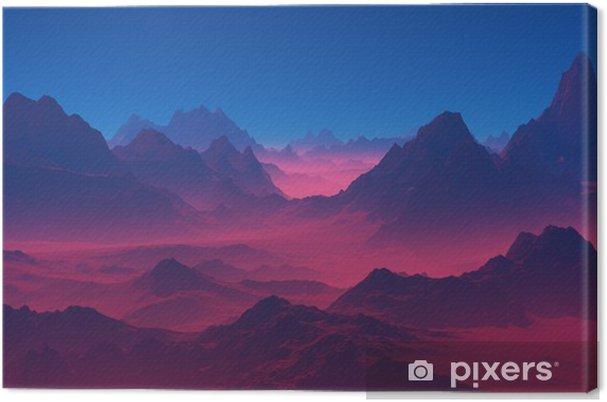 Canvastavla Berg vid solnedgången - Landskap