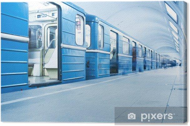 Canvastavla Blå tåg på tunnelbanestation - Teman