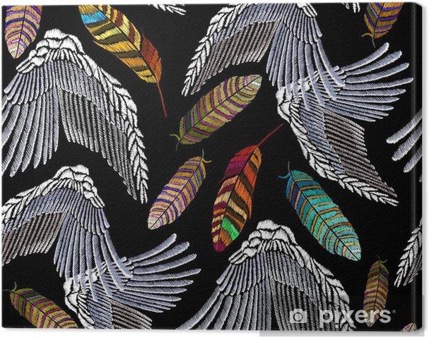 d094a5a8308a Canvastavla Broderi ängel vingar och fjädrar sömlöst mönster. vackra ljusa  tropiska påfågelfjäder och ängelvingar broderi. mode mall för kläder,  textilier, ...