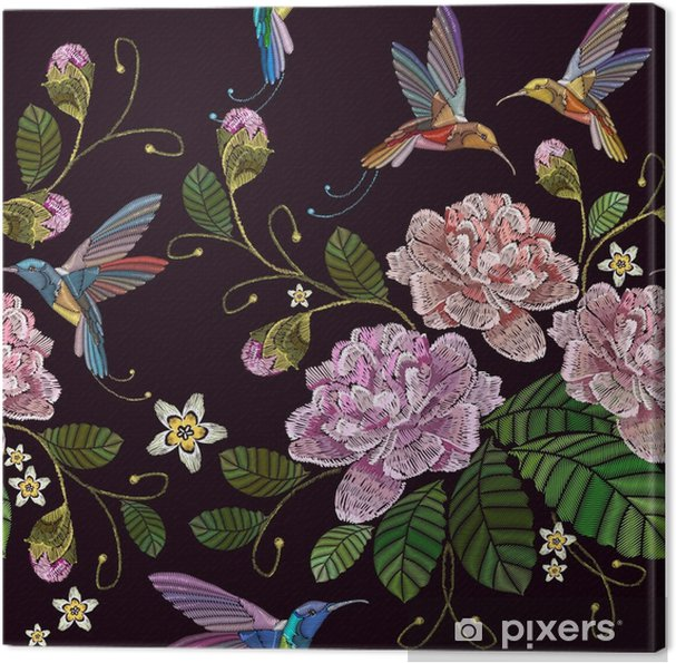 351bbf7477be Canvastavla Broderi peonies och humming bird seamless mönster. fashionabla  mall för kläder, textilier, t-shirtdesign. vackra peonies blommor och  humming ...