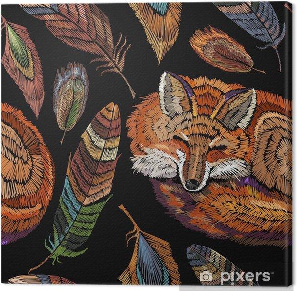 12f598560913 Canvastavla Broderi sovox och färgfjädrar sömlöst mönster. klassisk broderi  sömlös bakgrund. röd räv sova i vackra fjädrar. fashionabla mall för design  av ...