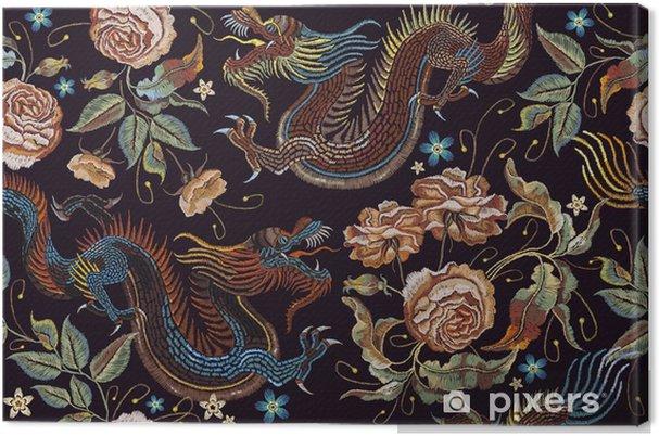 725786509f81 Canvastavla Broderi vintage kinesiska drakar och blommor peonies sömlösa  mönster. klassiska broderier asiatiska drakar och vackra pyonier sömlösa  mönster.
