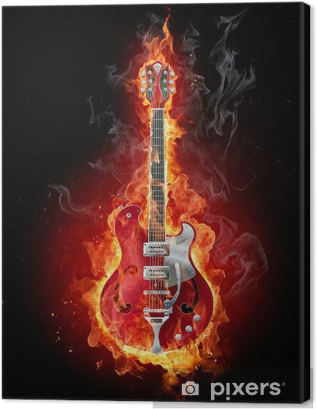 Canvastavla Burning gitarr - Jazz