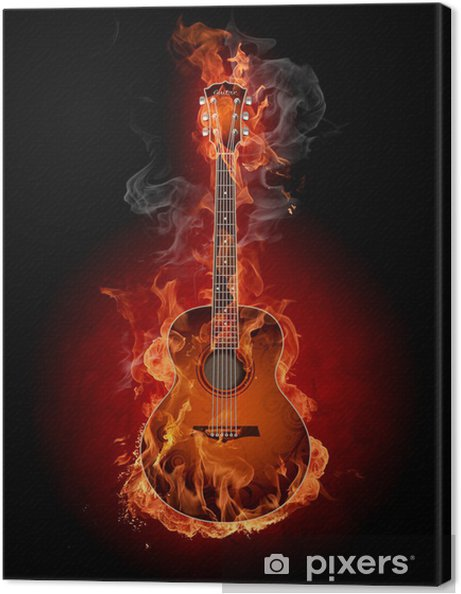 Canvastavla Burning gitarr - Gitarrer