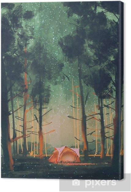 Canvastavla Camping i skog på natten med stjärnor och eldflugor, illustration, digital målning - Hobby och fritid