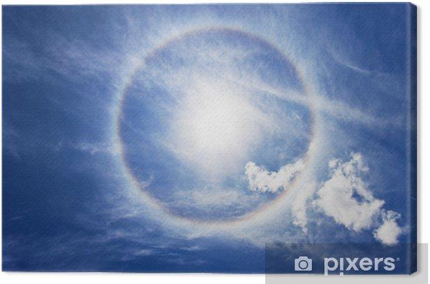 Canvastavla Cirkulär regnbåge runt sön - Himmel