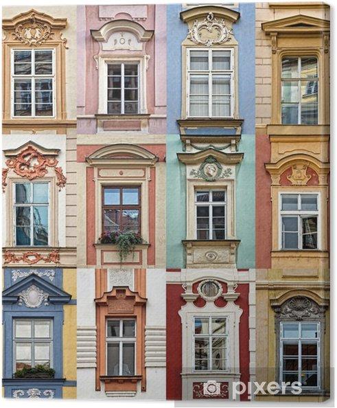 Canvastavla Collage av färgglada fönster i Prag, Tjeckien - Resor