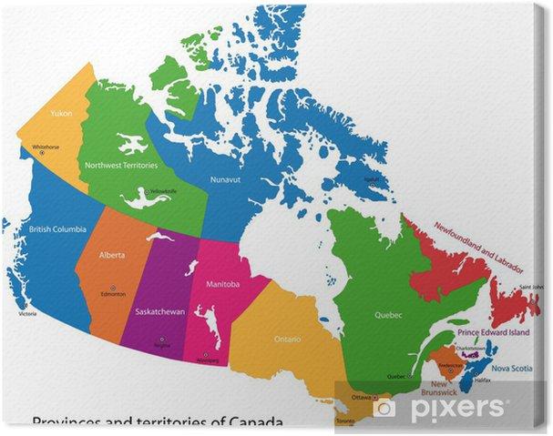 Karta Pa Kanada.Canvastavla Colorful Karta Over Kanada Med Provinser Och Huvudstader