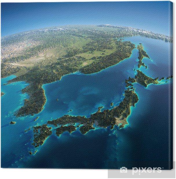 Canvastavla Detaljerad jorden. Japan och Korea - Jorden