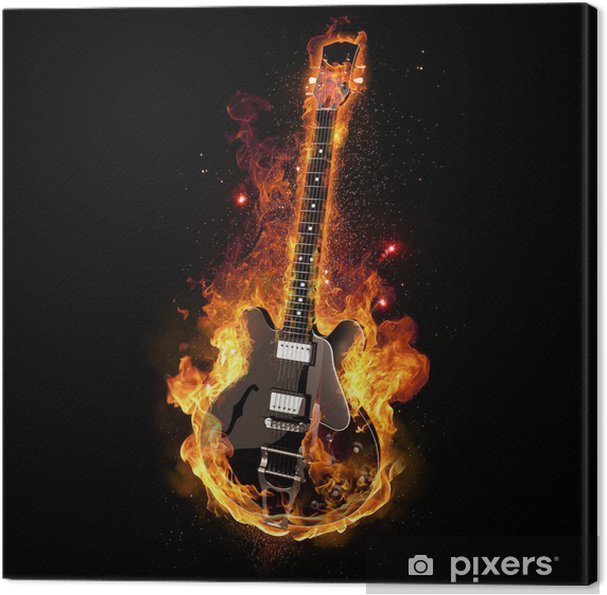 Canvastavla E Guitar on Fire - Rock