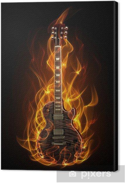 Canvastavla Elgitarr i brand och lågor - Gitarrer