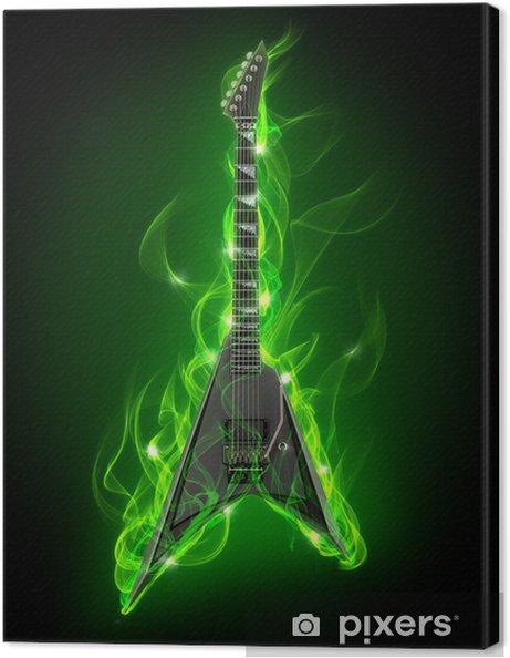Canvastavla Elgitarr i grönt eld och lågor - Teman