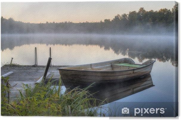 Canvastavla En smutsig båt med en träbrygga - Teman