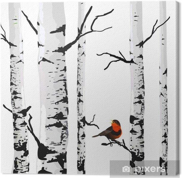 Canvastavla Fågel av björkar, vektor ritning med redigerbara element. - Affär