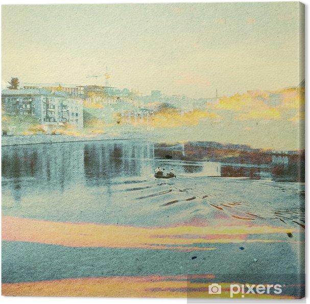 Canvastavla Fantasy Ecology abstrakt bakgrund. Urban Landscape Blandat med natur på papper textur. Retro Style - Miljö