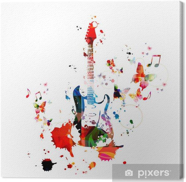 Canvastavla Färgglada musik bakgrund med gitarr - Teman