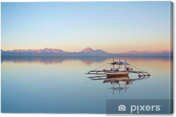 Canvastavla Fiskebåt på filippinska havet på en vacker solnedgång dag. - Landskap