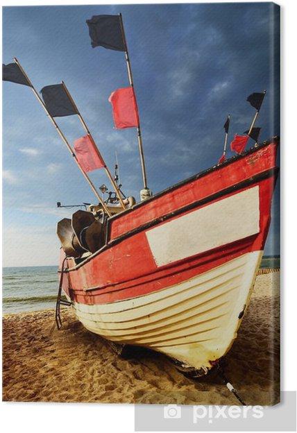Canvastavla Fiskebåt på stranden av Östersjön. - Landskap