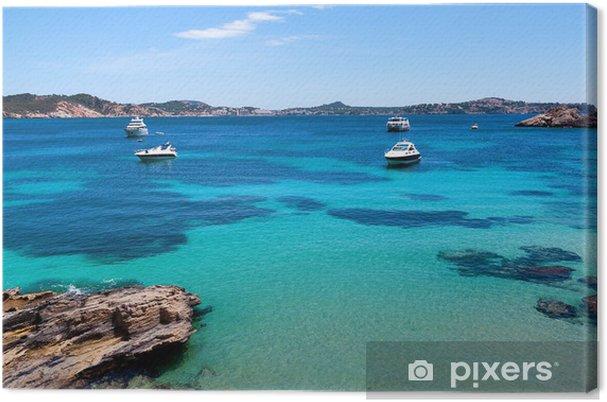 Canvastavla Förtöjda båtar i Cala Fornells, Mallorca - Helgdagar