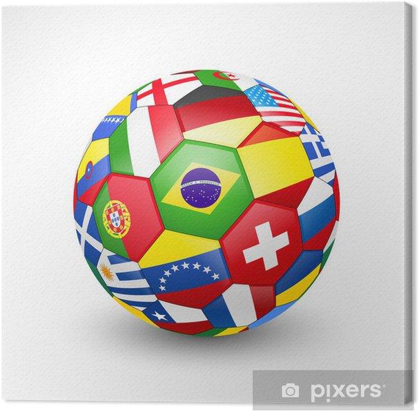 Canvastavla Fotboll fotboll med världs lag flaggor. Vektor - Framgång och  prestationer 67364db6520ff
