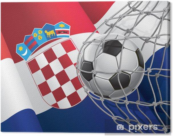 Canvastavla Fotbollsmål. Kroatien sjunker med en fotboll i ett nät. -  Lagsport b6e65245daf33